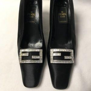 Fendi Black Satin Heel
